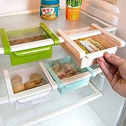 Evana 4 Pcs Evana 1.75 Liters Sliding Organizer Rack For Refrigerator Fridge Multi-purpose Office Table , Kitchen Bathroom Cabinet Portable Slider Basket Drawers Storage Cabinet Box (Set of 4)(Multicolor)