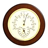 Cherry Wood Thermometer and Hygrometer with Solid Brass Bezel