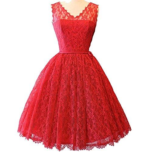 Women Pure Red Chiffon Sleeveless Pleated V-neck 1950's Vintage Dress