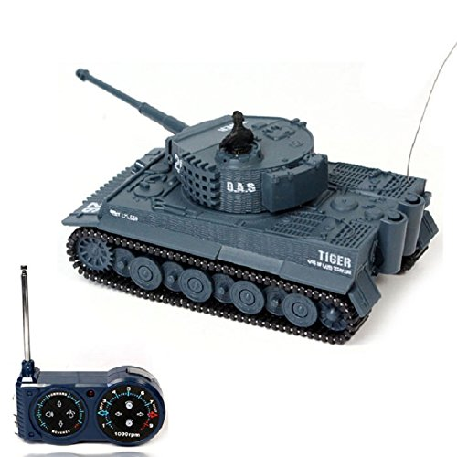 513bjZrnjUL Atdoshop New Mini 1:72 49MHz R/C Radio Remote Control Tiger Tank 20M Kids Toy Gift Army (Grey)