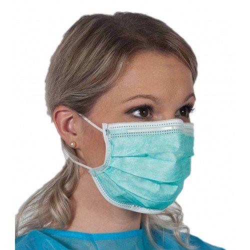 Earloop Procedure Masks, Blue, Box of 50, 3 ply, (Light and Soft) (FDA, CE, ASTM Level I, EN14683 Type I) (99% BFE, 99% PFE)