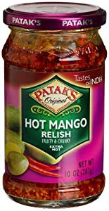 Pataks Hot Mango Relish Extra Hot 10-ounce Glass Jars Pack Of 6 by Patak's