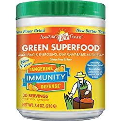 Amazing Grass Green Superfood Immunity Defense- Tangerine, 30 Servings, 7.4 Ounces