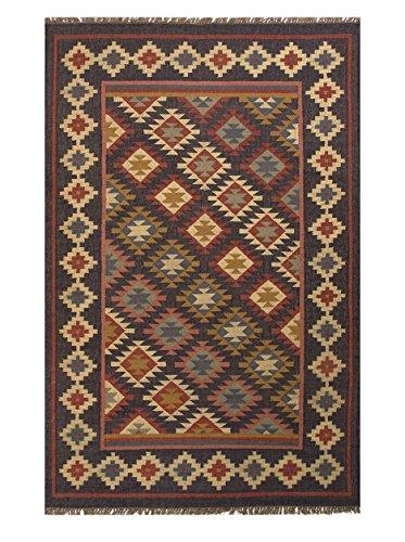 Jaipurrugs Flat-Weave Durable Jute Black/Multi Adrian Rectangle Rug Border Color Ebony 4'X6' front-258885