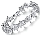 (キチシュウ)Aooazジュエリー レディースファッションブレスレット ホワイトCZダイヤモンド入り フラワーのデザイン シルバー 高品質アクセサリー 長さは約18CM