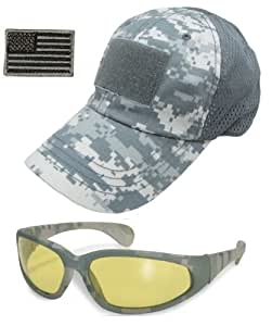 Ultimate Arms Gear Tactical Combo Including Amber Lens Carbonate ACU Army Digital Camo Military Camouflage UV400 UV Protection Sunglasses Sun Glasses & Mesh Operator's Cap Baseball Hat With USA Flag Patch