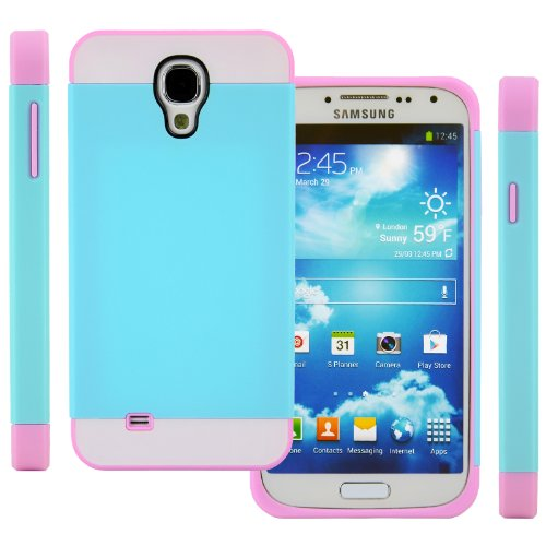 Celljoy Hybrid Tpu 2Pc Layered Hard Case Rubber Bumper For Samsung Galaxy S4 Siv (At&T / Verizon / Us Cellular / Sprint / T-Mobile / Unlocked) [Celljoy Retail Packaging] (Teal Blue / White / Pink)