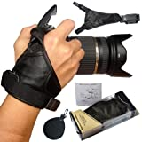 First2savvv OSH0901 Professional Wrist Grip black genuine soft leather hand Strap for Nikon D5200 COOLPIX P7100 COOLPIX P510 COOLPIX L310 COOLPIX L810 with UV lens filter protection bag case