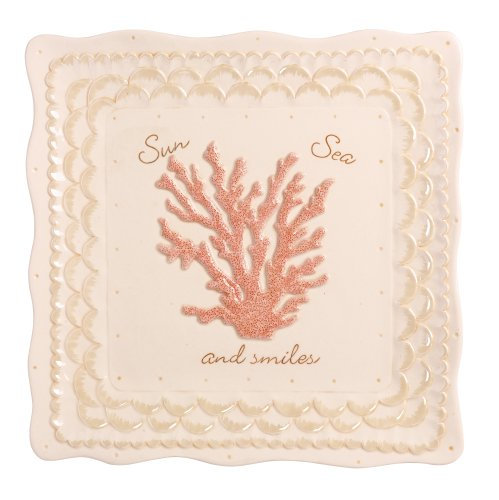 Grasslands Road Ceramic Coral Tray, 12-Inch, Set Of 2