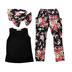 Imported Baby Kids Girls Outfits Headband T-shirt Floral Pants Clothes 3pcs Set 120