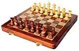 Best Chess Set Sale - Handmade Wooden Rosewood 10x10 Inch Foldable Magnetic Chess Game Board with Storage Slots.