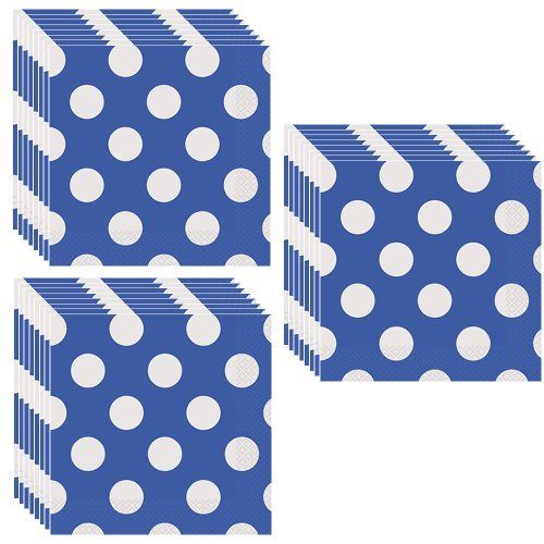 Royal Blue Polka Dots Party Lunch Napkins - 48 Pieces