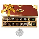 Chocholik Belgium Chocolates - 16pc Perfect Combo Of Taste And Charm With 5gm Pure Silver Coin - Diwali Gifts