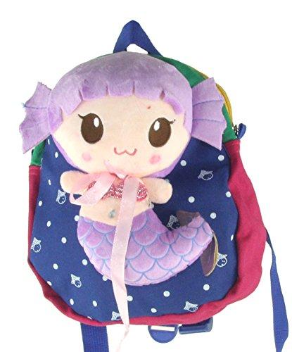 ,Deer Mum Children'S Backpack 3D Cut Little Mermaid Attched Schoolbag Toddler Kid Cartoon Backpack Schoolbag Shoulder Bags (Blue&Purple) front-528334