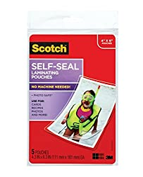Scotch Self-Sealing Laminating Pouches, Glossy Finish, 4 3/8 x 6 3/8 Inches, 5 Pouches (PL900G)