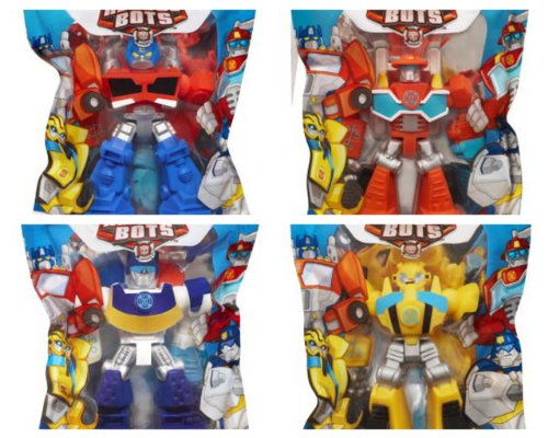 Playskool Heroes Rescue Bot Set of 4 Small Action Figures Optimus, Bumblebee, Chase, Heatwave