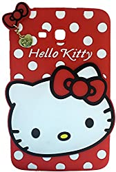 MACC Designer Soft Back Cartoon Cover Case Silicon 3D For Samsung Galaxy Tab 3 Neo T111 - HKWITHPENDANT-RED