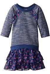 Speechless Little Girls' Tiered Print Sweatshirt Dress