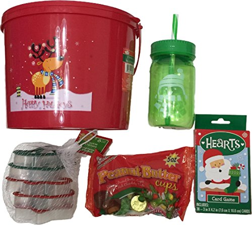 Christmas activity bucket red bucket drinking bottle cookie cutters