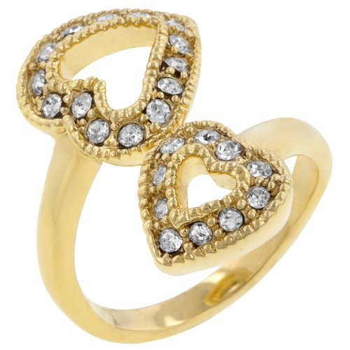 Double Heart 14k Gold Plate Pave Cubic Zirconia CZ Promise Ring (Size 5,6,7,8,9,10)