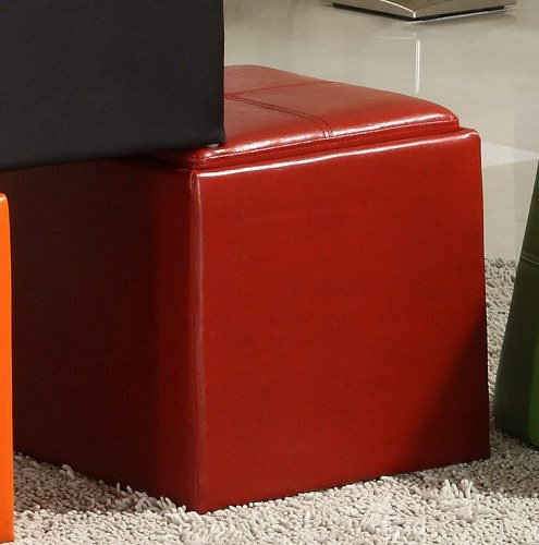 Storage Cube Ottoman - Red Bi-Cast Vinyl By Homelegance
