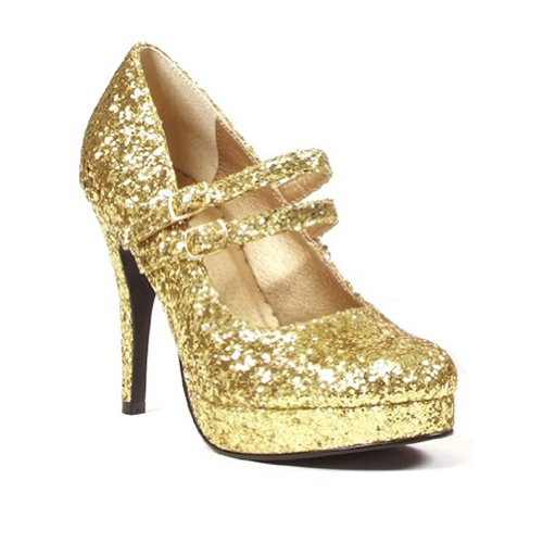 4 Inch High Heel Platform Glitter Mary Jane Shoes DOROTHY Theatre Costumes Accessory Gold Glitter