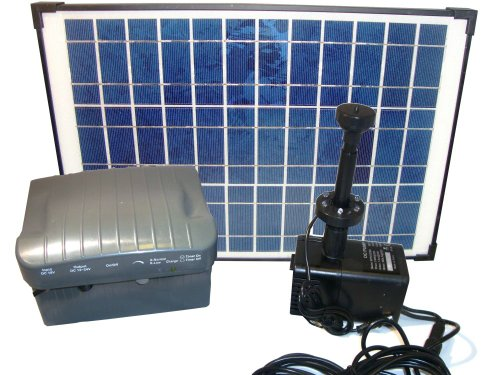 PK Green Solar Powered 3M Fountain Pump Kit 20W Panel With Battery Backup
