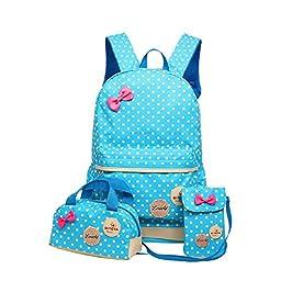 Moonwind Polka Dots Bow 3pcs Kids Book Bag School Backpack Handbag Purse Set for Girls Teen (Blue)