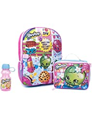 Shopkins 3 Piece Kids Backpack Set - School Backpack, Lunch Bag & Water Bottle