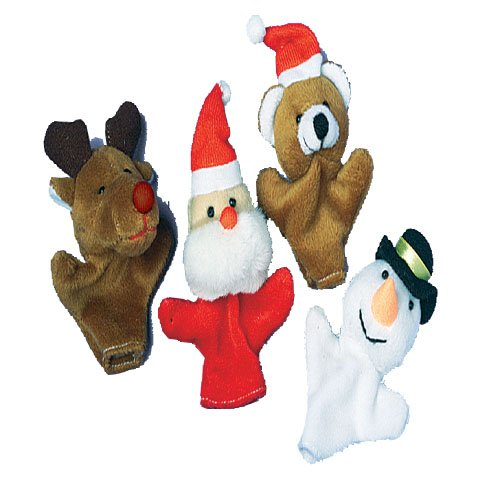 "Lot Of 12 Assorted Plush Christmas Themed Finger Puppets - 4"" - 1"