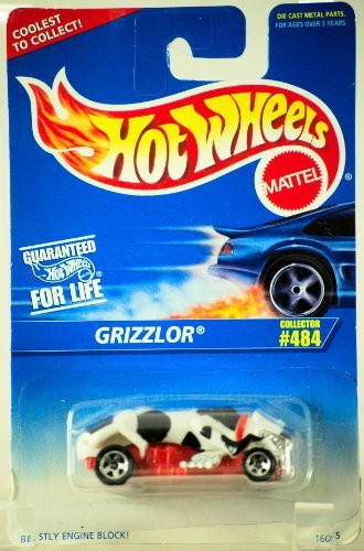 1995 - Mattel - Hot Wheels - Grizzlor - Black, White & Red - 1:64 Scale Die Cast - MOC - Collector #484 - Out of Production - Limited Edition - Collectible