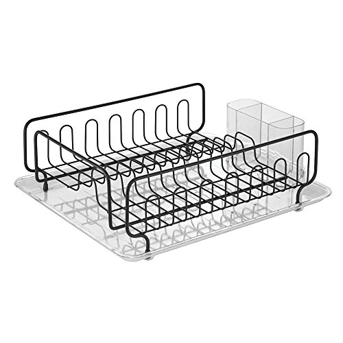 InterDesign Forma Kitchen Dish Drainer Rack with Tray for Drying Glasses, Silverware, Bowls, Plates - Black Matte/Clear