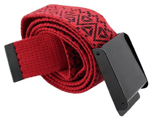 BONAMART ® Unisex Men Women Retro Classic Printing Knit Canvas Web Belt Waistband 105cm