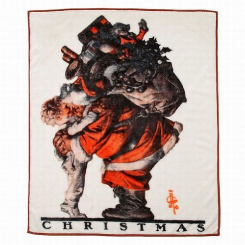 Saturday Evening Post Royal Plush Fleece Hug From Santa Christmas Throw Blanket