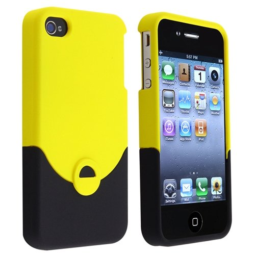 Snap-on Rubber Coated Case compatible with Apple® iPhone® 4 / 4S, Yellow / Black