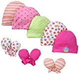 Gerber Baby-Girls  Cupcakes Cap And Mitten Bundle, Pink, 0-6 Months image