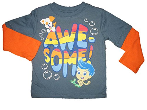 Bubble Guppies Toddler Boys Long Sleeve 2Fer T Shirt Bubble Puppy Gil Awesome Size 3T front-1037179