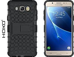 Galaxy J7 2016 Case, HOKO® Defender Series Dual Layer Hybrid TPU + PC Kickstand Case Cover for Samsung Galaxy J7 2016 (Black)