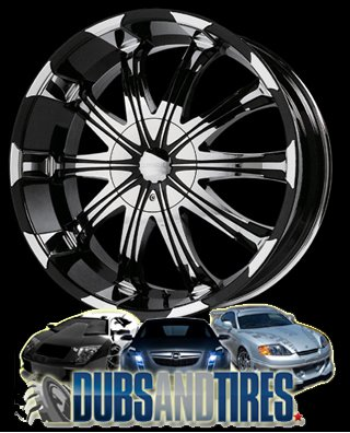 Verde Avatar 22x9.5 Black and Chrome Wheels Rims
