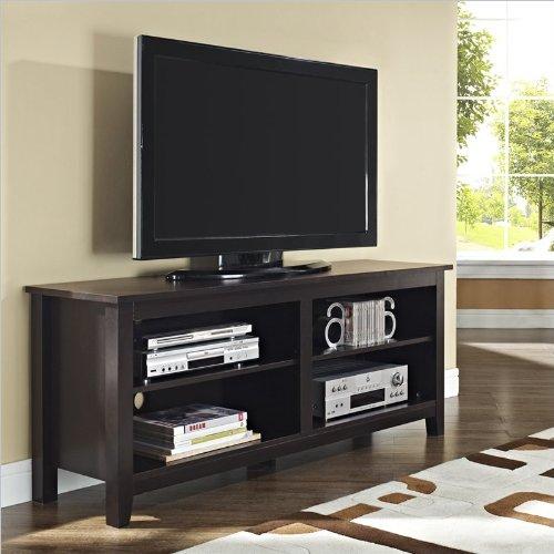 WE Furniture Wood TV Stand, 58-Inch, Espresso