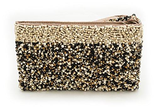 Black Friday Cyber Monday Sale Gift Kharmic Creations Women'S Handmade Beaded Evening Clutch Purse Handbag (One Size, Oatmeal Black Bronze)