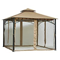 7 ft (84 in) Tall Beige Mosquito Net ONLY for 10x10 Gazebo w/ Velcro Straps Product SKU: GA01005