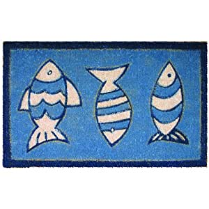 Entryways Three Blue Fish Hand Woven Coir Doormat, 18 by 30-Inch (Discontinued by Manufacturer)
