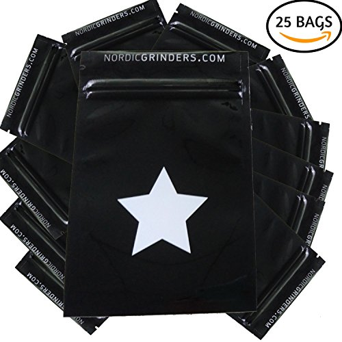 25 Smell Proof Bags for Herbs and Spices small 4x6 Inches by Nordic Grinder (Vacuum Stash Jar compare prices)