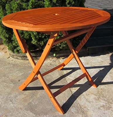 HARDWOOD WOODEN FOLDING ROUND GARDEN TABLE, FOLDING WOOD CHAIRS GARDEN FURNITURE Round Folding Table 90cm HRT90