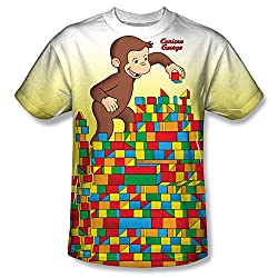 Curious George Building Blocks All Over Print Front T-Shirt