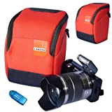 First2savvv high quality anti-shock Orange Nylon camera case bag for olympus SP-810UZ with card reader