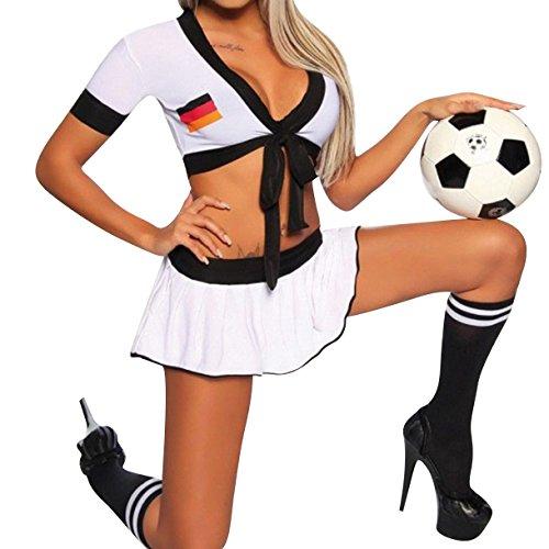 Housweety Sexy Lingerie Deutschland Fussball WM GoGo Kostuem Minirock Reizwaesche Dessous M-L