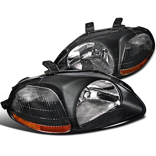 Spec-D Tuning 2LH-CV96JM-RS Honda Civic Dx Ex Lx Si 2/3/4Dr Jdm Headlights Black (1998 Honda Civic Dx compare prices)