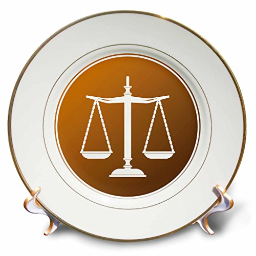 3dRose cp_165575_1 Brown Circle Symbol Scales of Justice-Porcelain Plate, 8-Inch
